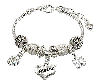 dfbabb2b5d00 Hermana 50th cumpleaños pulsera con caja de regalo joyas para mujer   Jewellery Hut  Amazon.es  Joyería