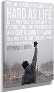 Rocky Balboa Quote Movie Canvas Wall Art Home Decor (12in x 18in Gallery Wrapped)