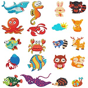 Alphatool 20Pcs 5D Colorful DIY Diamond Painting Stickers-Number Handmade Animal Sticker for Mobile Phone,Refrigerator,Cup,Book,Window