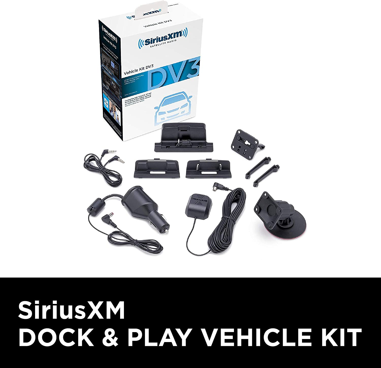 Black Renewed SiriusXM SXDV3 Satellite Radio Vehicle Mounting Kit with Dock and Charging Cable