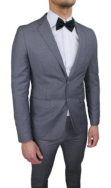 Abito completo uomo sartoriale grigio slim fit aderente nuovo elegante  cerimonia  Amazon.it  Abbigliamento 81622b00912