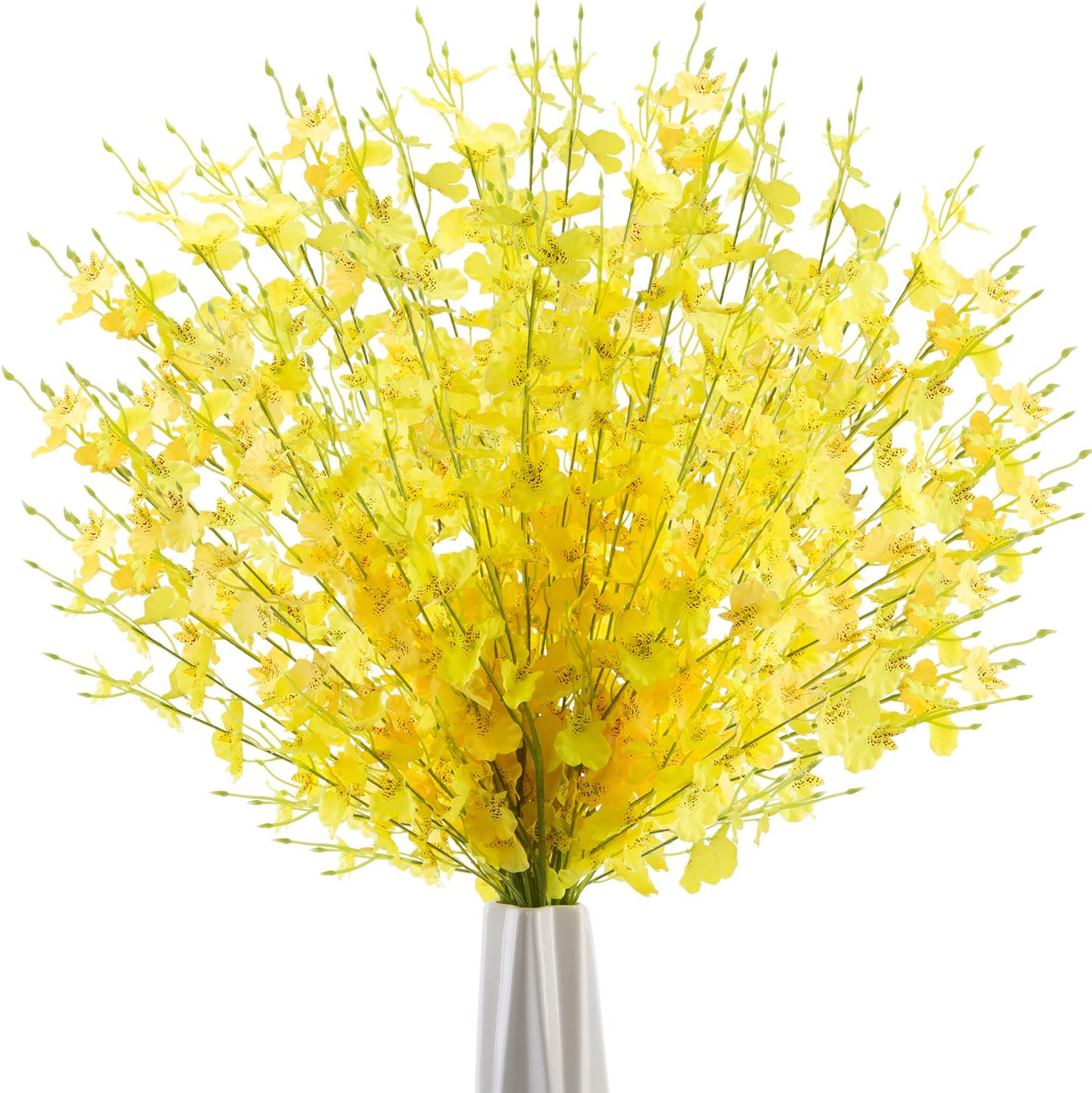 JOEJISN Artificial Orchid Flowers Faux Dancing Lady Orchids 10 Pcs Long Stem Silk Fake Flowers for Indoor Outdoor Wedding Home Kitchen Office Festive Party Decoration (Yellow)