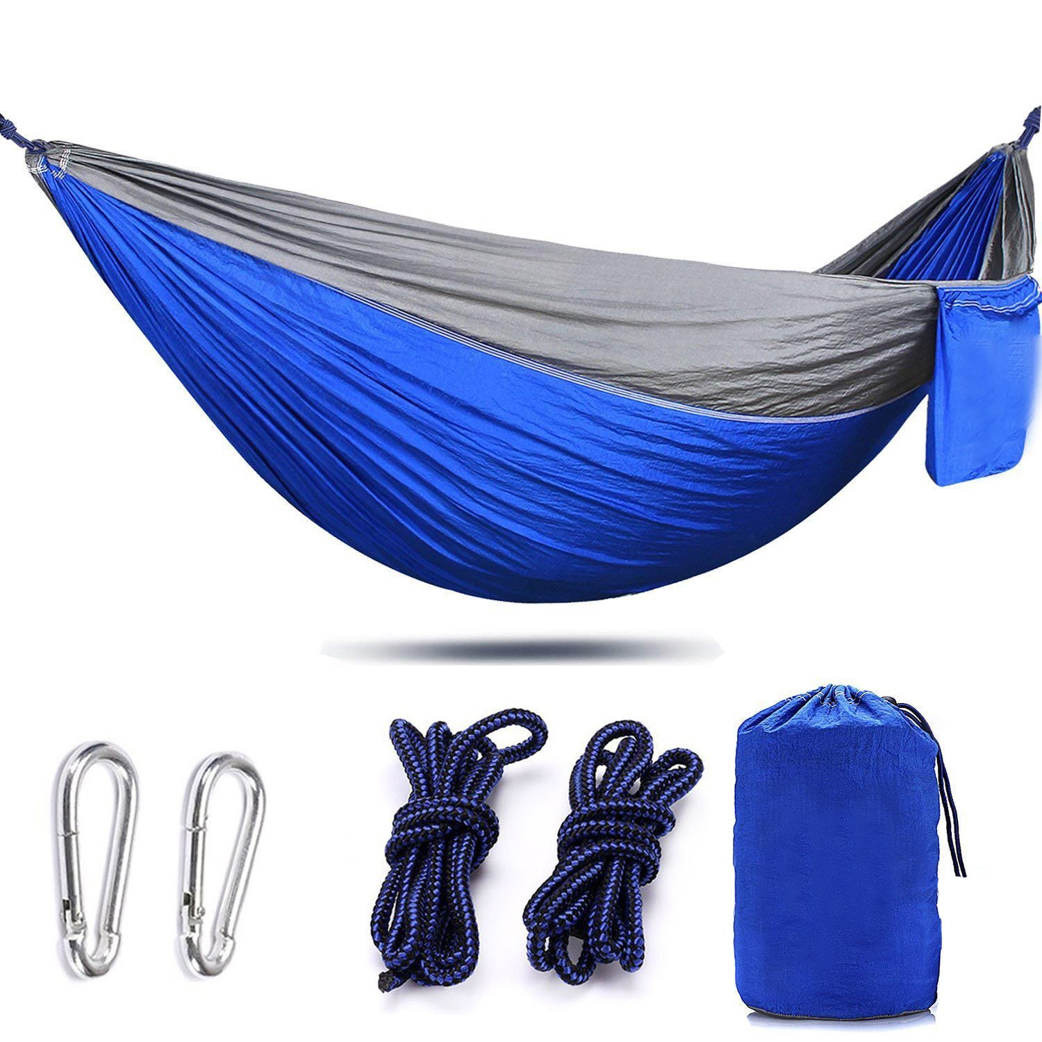 AIFUSI Lightweight Camping Hammock Full Set Nylon Parachute Hammock with Set of Tree Straps & Carbon for Camping, Backpacking, Travel, Backyard, Beach Blue by AIFUSI