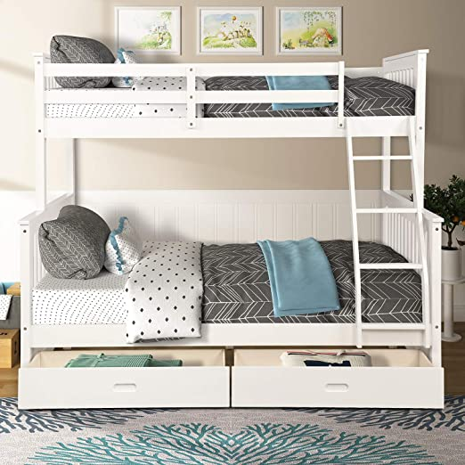 Knocbel Solid Wood Bunk Bed Twin-Over-Full for Kids with Ladders and 2  Storage Drawers (White)