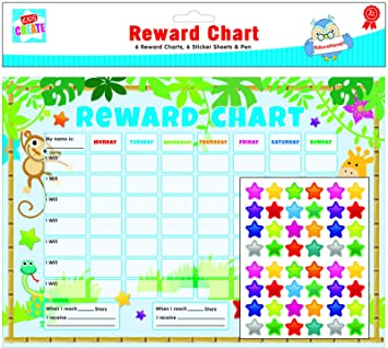 6 x Reward Charts Childrens Jungle Themed Behaviour//Chore Charts with Stickers /& Pens by Kids Create