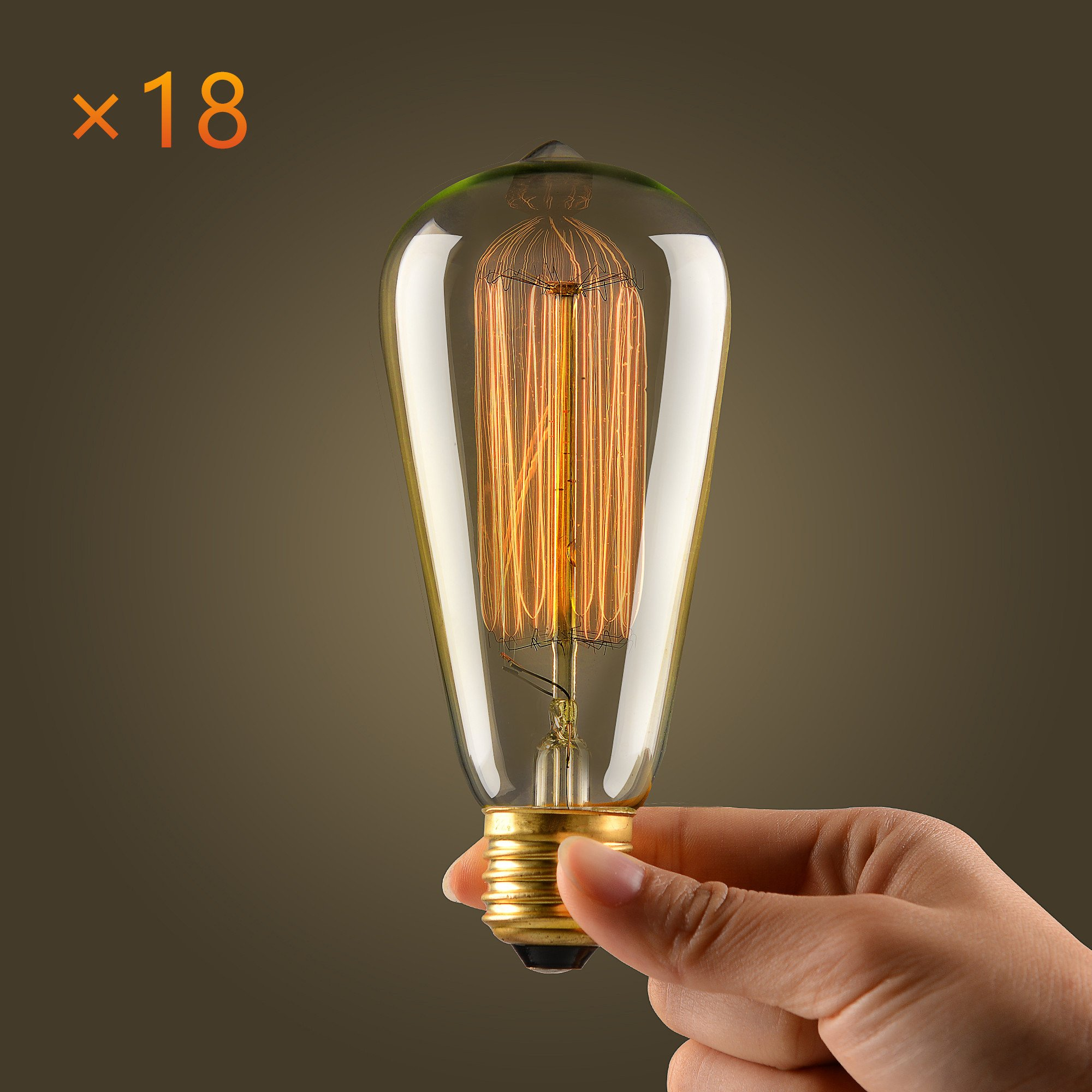 mirrea Vintage Edison Bulb - 18 Pack - ST64 - Squirrel Cage Filament - Dimmable