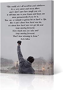 HB Art Design Rocky Balboa Quote Motivational Wall Art Canvas Wall Art Print Inspirational Speech Sylvester Stallone Entrepreneur Office Decor Movie Man Son Ready to Hang - 12x8