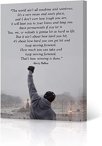 HB Art Design Rocky Balboa Quote Motivational Wall Art Canvas Wall Art Print Inspirational Speech Sylvester Stallone Entrepreneur Office Decor Movie Man Son Ready to Hang