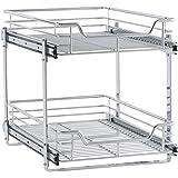 Household Essentials-Glidez 2-tier estante de organizador-Pull Out Gabinete deslizante, Cromado, 1, 1