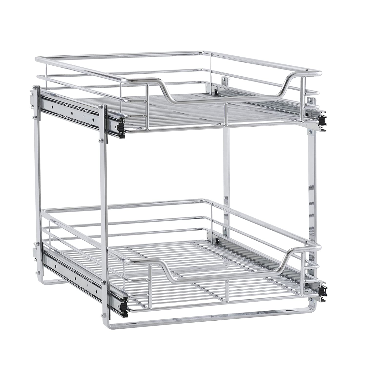 "Household Essentials C21521-1 Glidez Dual 2-Tier Sliding Cabinet Organizer, 14.5"" Wide Chrome"
