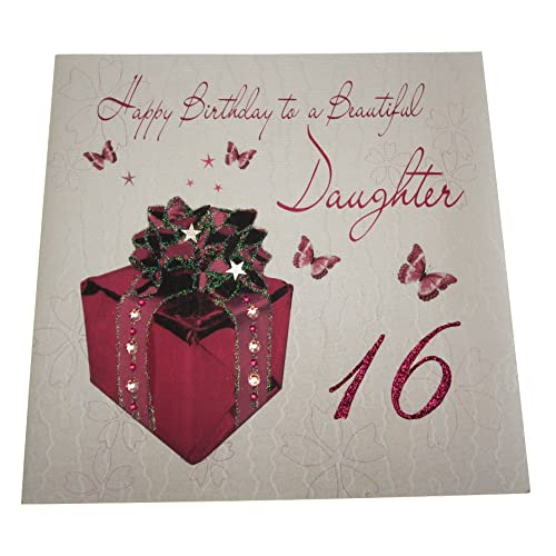 16th birthday cards amazon white cotton cards code xlwb102 happy birthday to a beautiful daughter 16 handmade large 16th birthday m4hsunfo