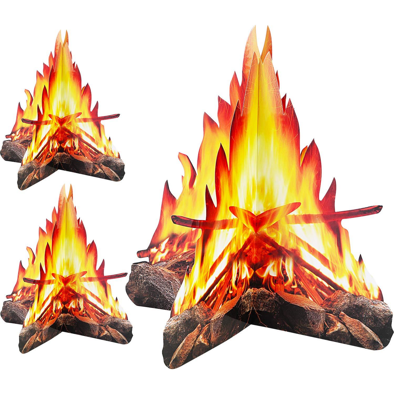 Tatuo 12 Zoll Hohe K/ünstliche Feuer Gef/älschte Flamme Papier 3D Dekorative Pappe Lagerfeuermittelst/ück Flamme Fackel f/ür Lagerfeuer Partydekorationen 2 Set Stil A