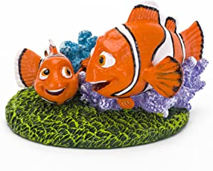 Disney's Finding Dory, Nemo & Marlin with Blue Coral Reef on Sea Weed Aquarium Ornament