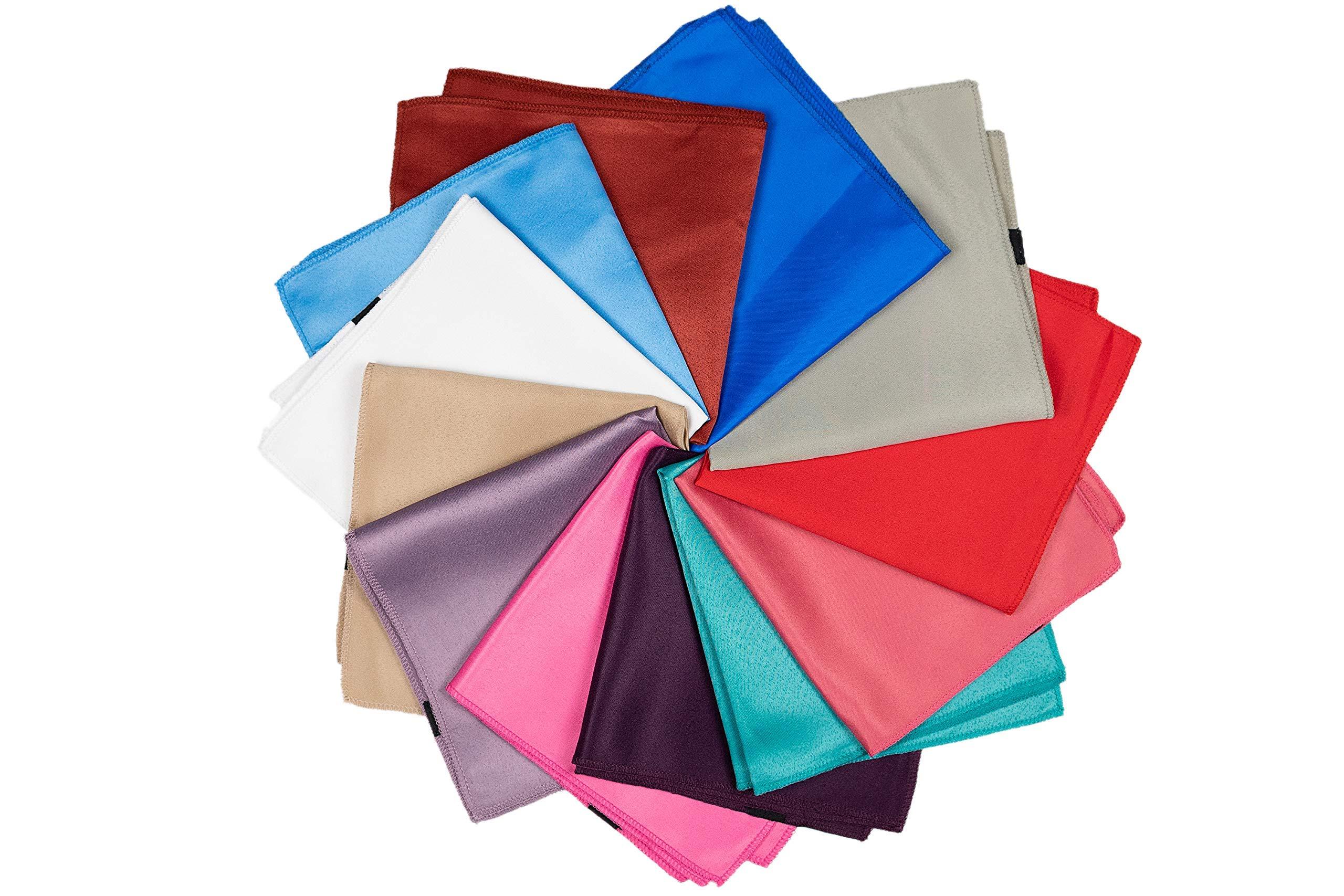 RAAVYA 12 Pcs Men's Pocket Squares Set Assorted Handkerchief Plain Solid color