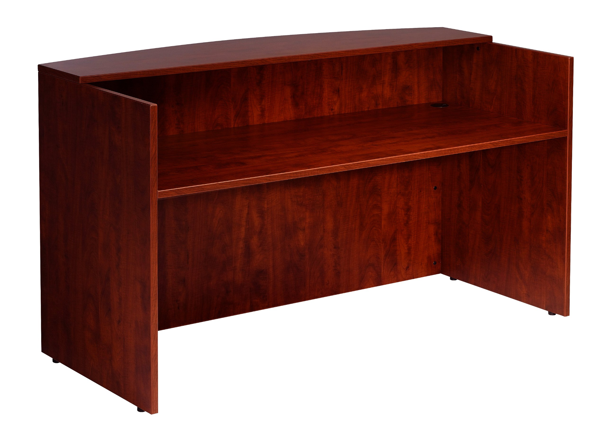 Boss 71 W by 30/36 D by 42 H Reception Desk, Mahogany by Boss Office Products