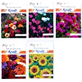 Summer Flower Seeds (Pack of 5) by Kraft Seeds (Portulaca, Balsam, Zinnia, Gomphrena, Sunflower Dwarf)