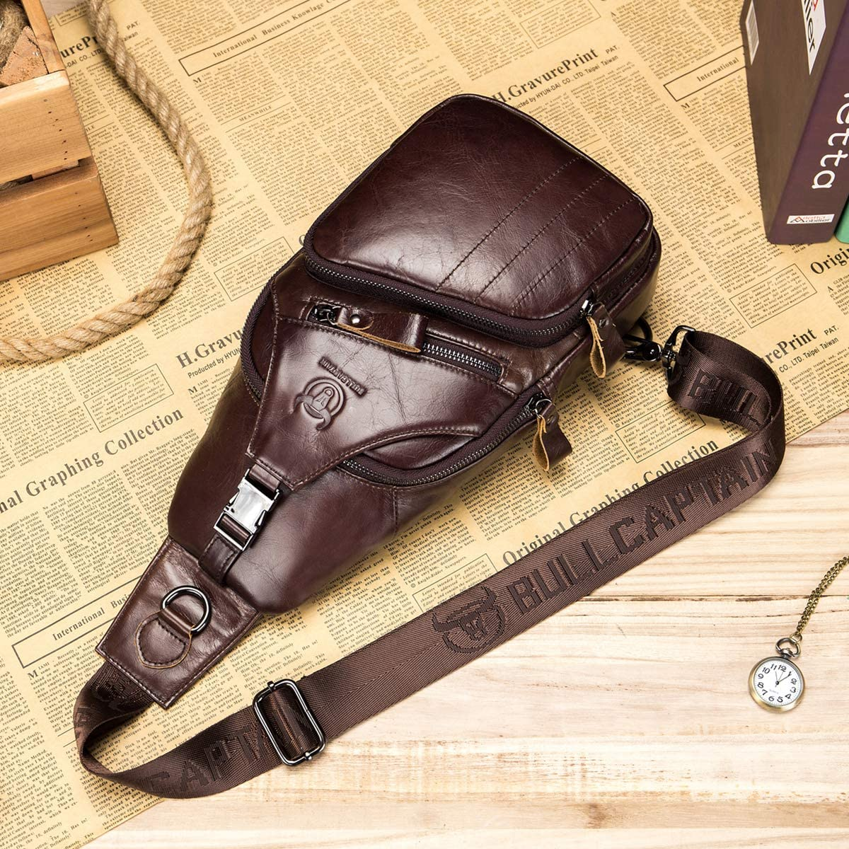 BULLCAPTAIN Men's Sling Backpack Plus Size Genuine Leather Sling Bag