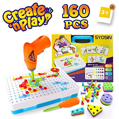 SYOSIN Construction Toy Drill for 3-8 Year Old Boys & Girls Toy Gifts- Screw Toy Kids Drill Set - Creative Puzzle Educational Toys Tool Kit Building Blocks Fine Motor Skills Activity Center for Kids: Toys & Games