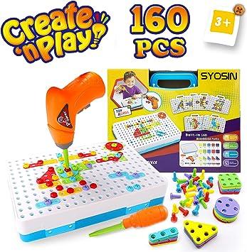 SYOSIN Steckspiel Bohrmaschine Mosaik Spielzeug Bohrer STEM