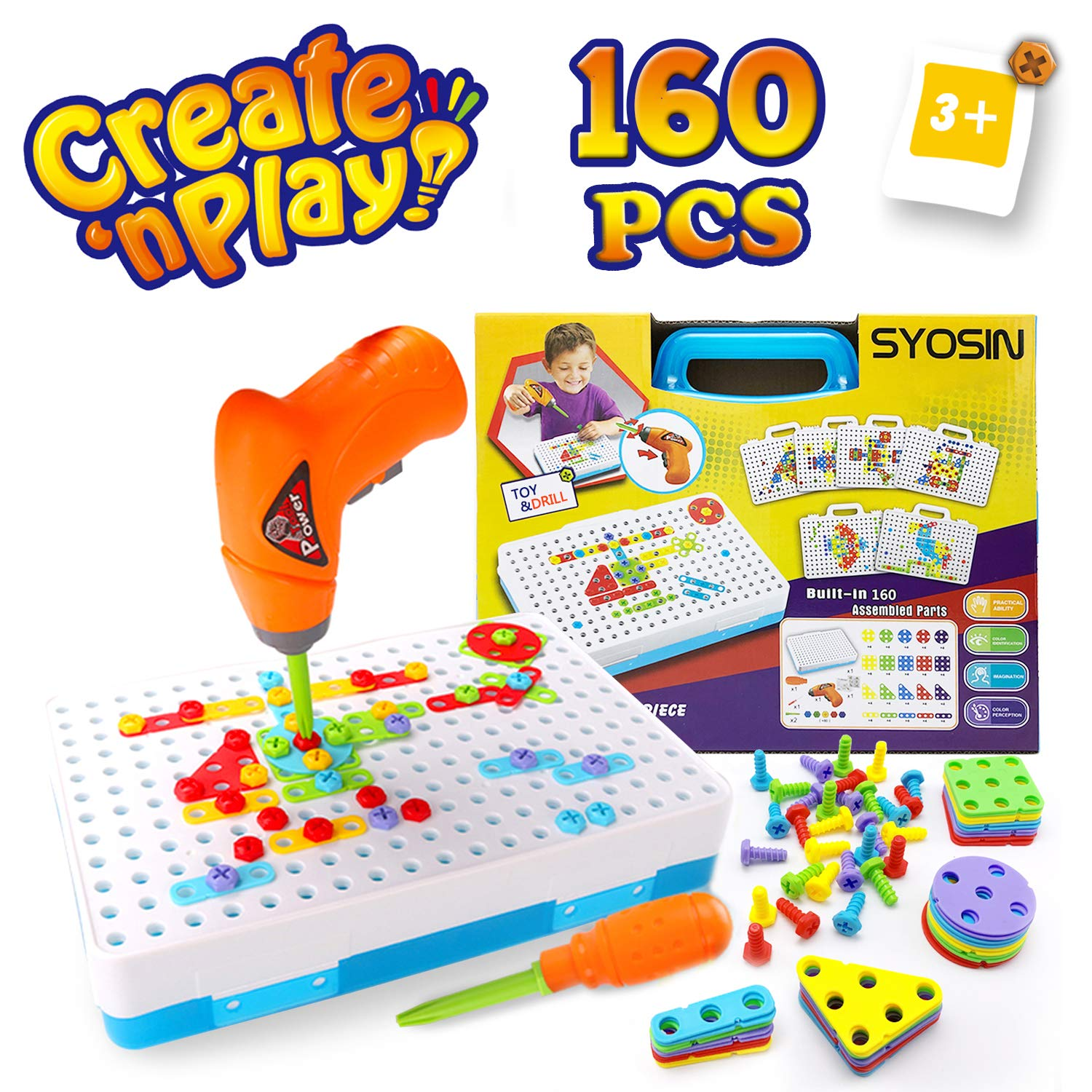SYOSIN Construction Toy Drill for 3-8 Year Old Boys & Girls Toy - Screw Toy Kids Drill Set - Creative Puzzle Educational Toys Tool Kit Building Blocks Fine Motor Skills Activity Center for Kids by SYOSIN