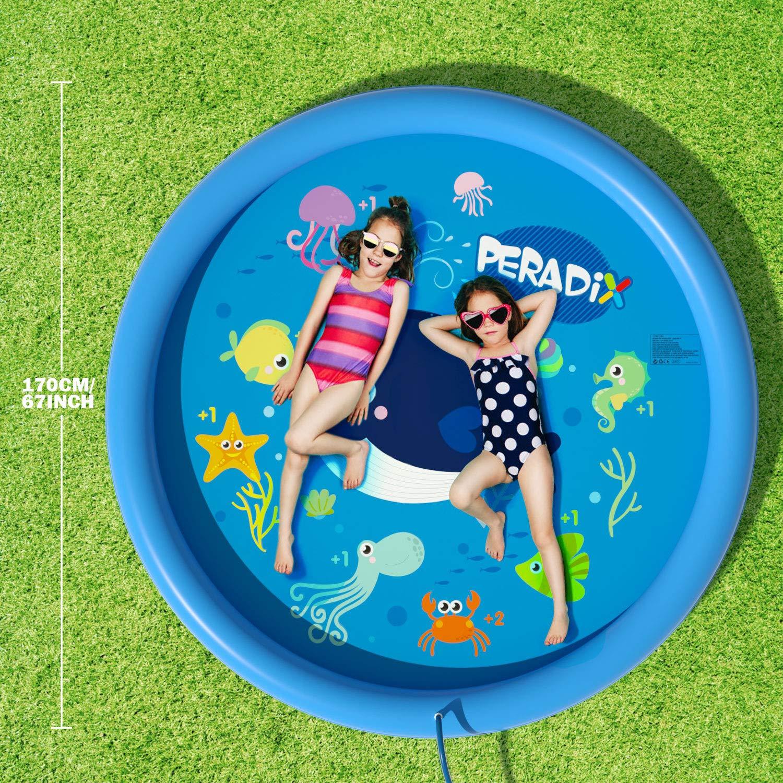 Peradix Sprinkler Pad For Kids- Water Splash Play Mat Summer Outdoor/Garden/Beach Water Spray Mat Toys Games For Baby/Children/Toddler Activities