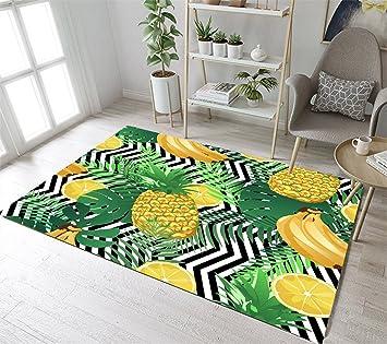 LB Tropical Fruit Theme, Ananas, Bunt, Gelb, Grün, Teppich, Wohnzimmer