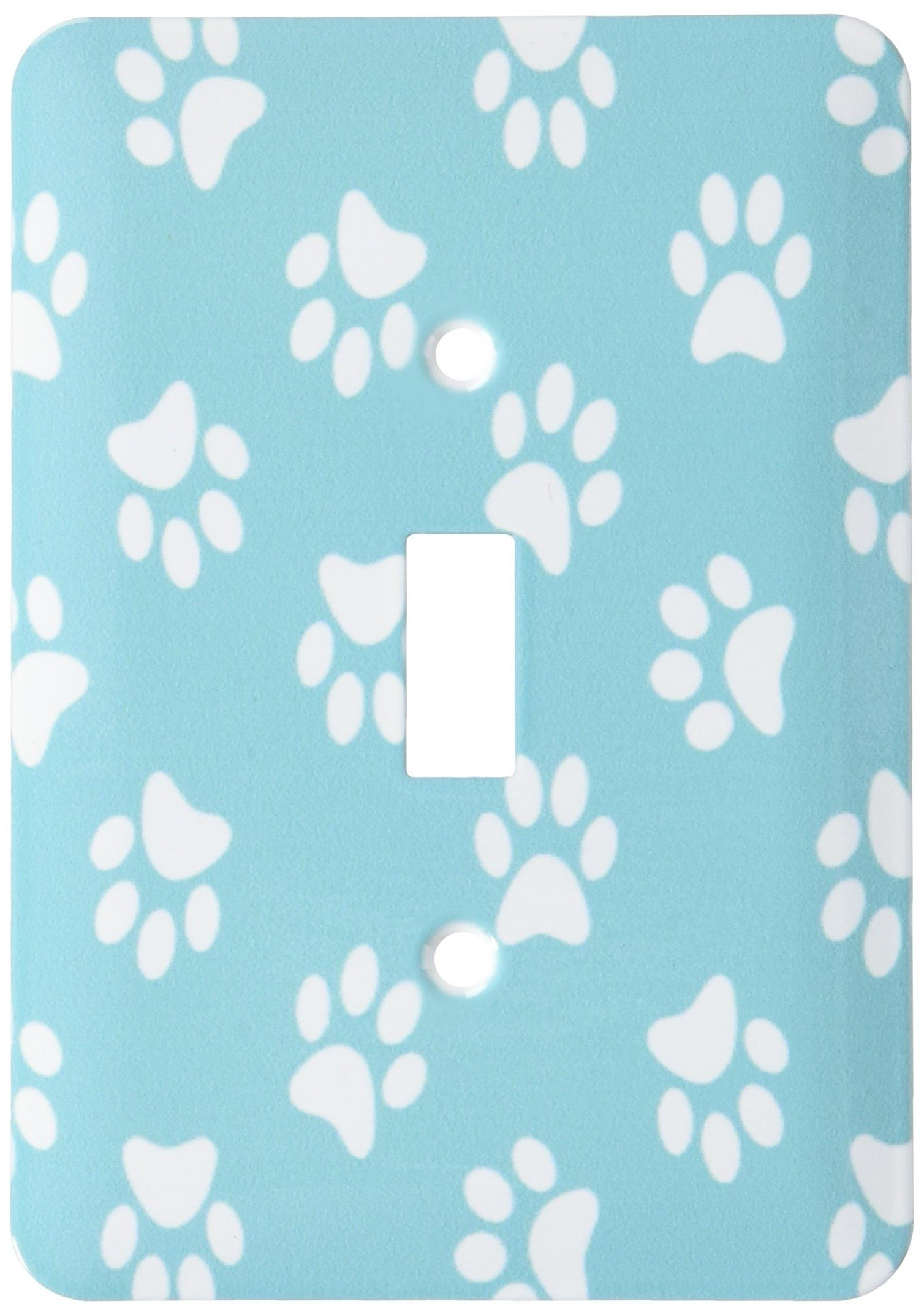 3dRose lsp_161531_1 Teal Blue and White Paw Print Pattern Turquoise Pawprints Cute Animal Eg Dog Or Cat Footprints Light Switch Cover