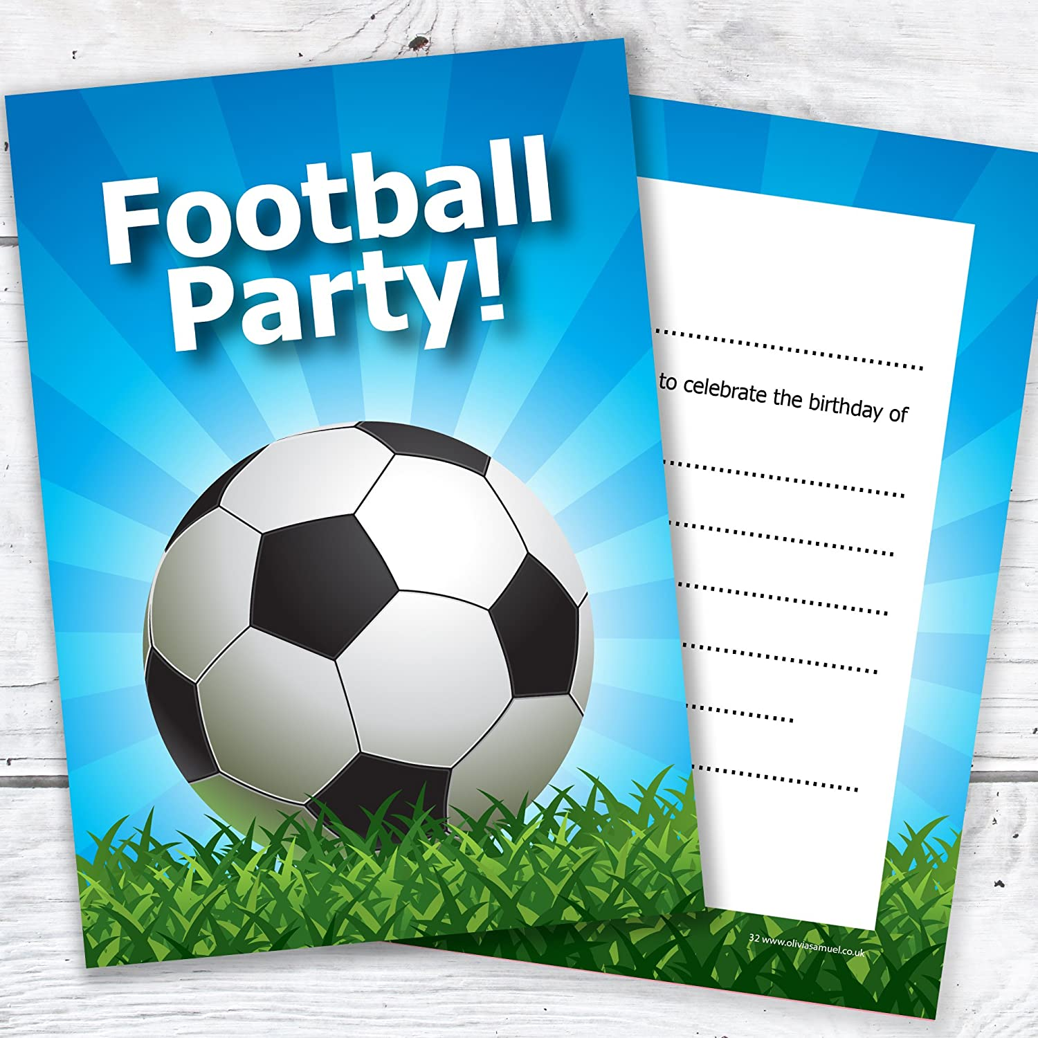 Kids Football Party Invite - A6 Ready to Write - Double Sided Postcard Style with envelopes (Pack of 10) Olivia Samuel