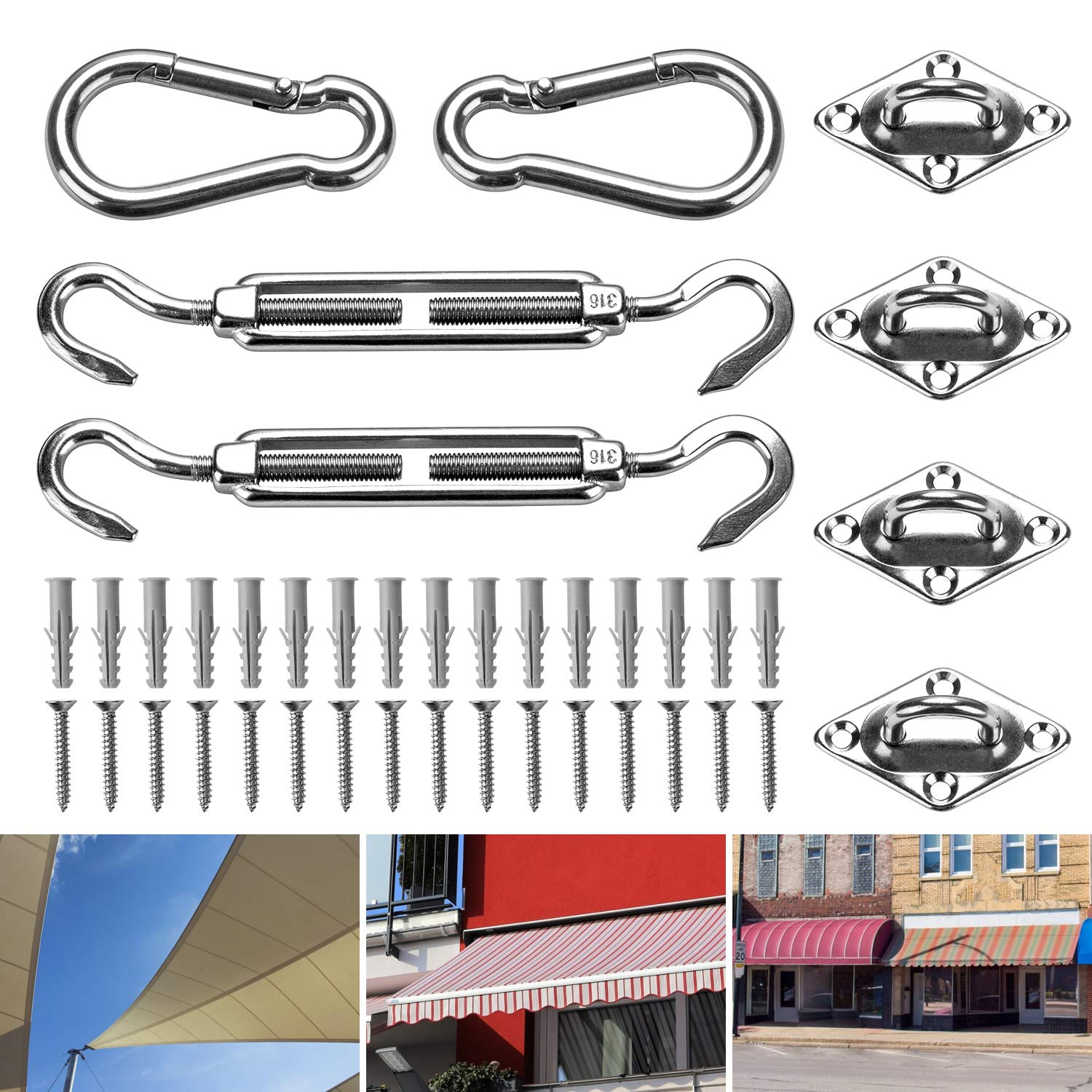 for Rectangle and Square Sun Shade Sail Fixing Sail Canopy Fixings Stainless Steel Shade Sail Accessories 316 Stainless Steel Sun Shade Sail Fixing Hardware Accessories Sun Shade Sail Hardware Kit