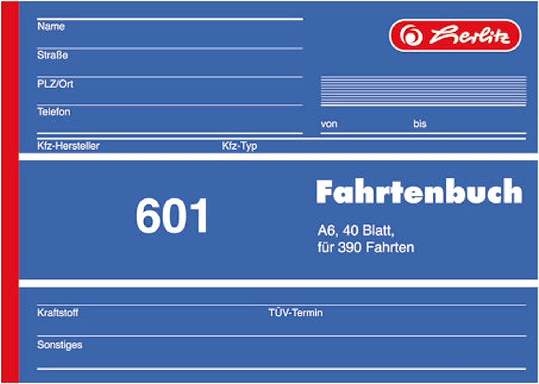 40 Blatt Herlitz Fahrtenbuch A6 5 St/ück, DIN A6