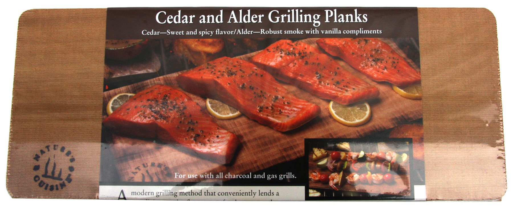 Nature's Cuisine NC006 2 Cedar/2 Alder Combo Outdoor Grilling Planks, 14 by 5-1/2-Inch