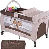 TecTake Cuna infantil de viaje de altura ajustable con acolchado para bebé - disponible en diferentes colores - (Coffee | 400466)