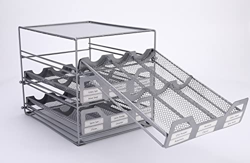Yiff Y308 3 Tier Tilt Down Drawer Stack Rack Organizer Silve