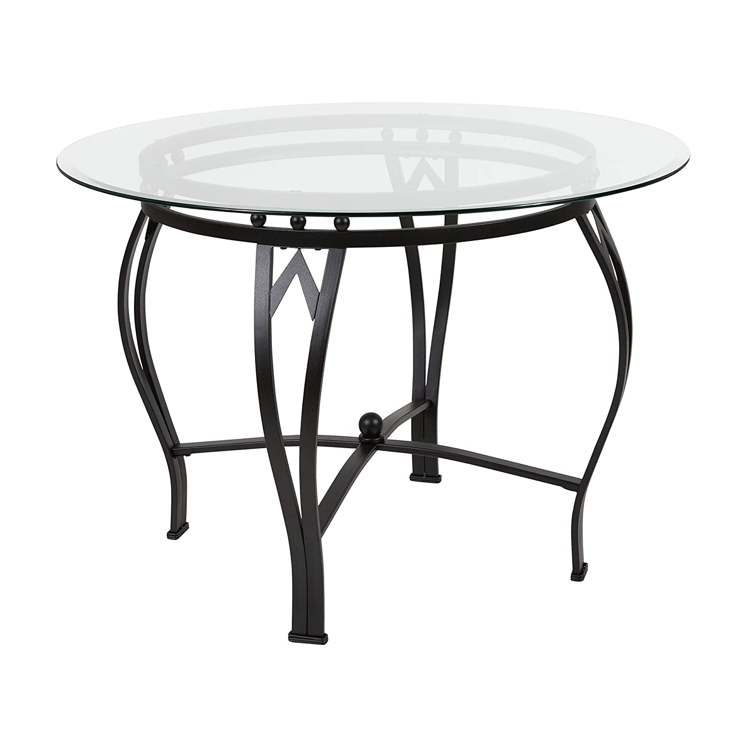 Flash Furniture Syracuse 48 Round Glass Dining Table with Black Metal Frame