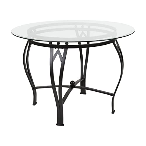 Flash Furniture Syracuse 42 Round Glass Dining Table with Black Metal Frame