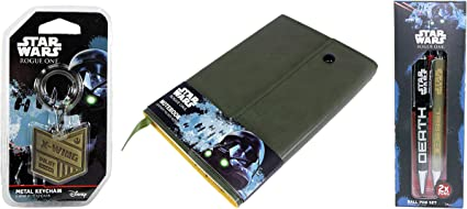 Star Wars Rogue One Set de regalo – Cuaderno de piel verde, X-Wing llavero de metal y bolígrafo: Amazon.es: Oficina y papelería
