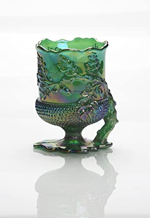 Amazon Emerald Green Carnival Glass Acorn Leaf Spooner Made