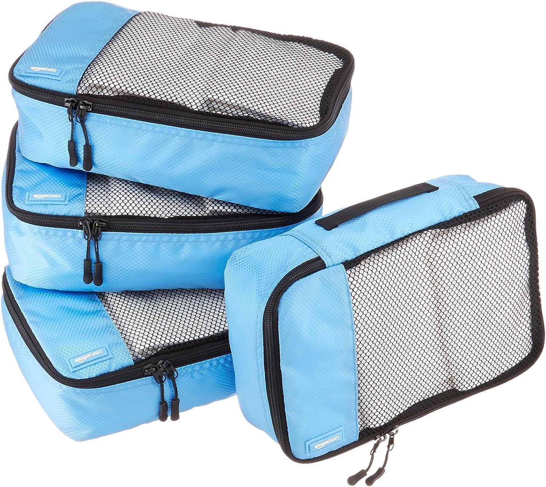 AmazonBasics - Bolsas de equipaje pequeñas (4 unidades), Azul (Cielo)