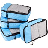 AmazonBasics Small Packing Travel Organizer Cubes Set, Sky Blue - 4-Piece Set