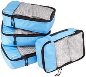 AmazonBasics SmallPacking Cubes - 4 Piece Set, Sky Blue
