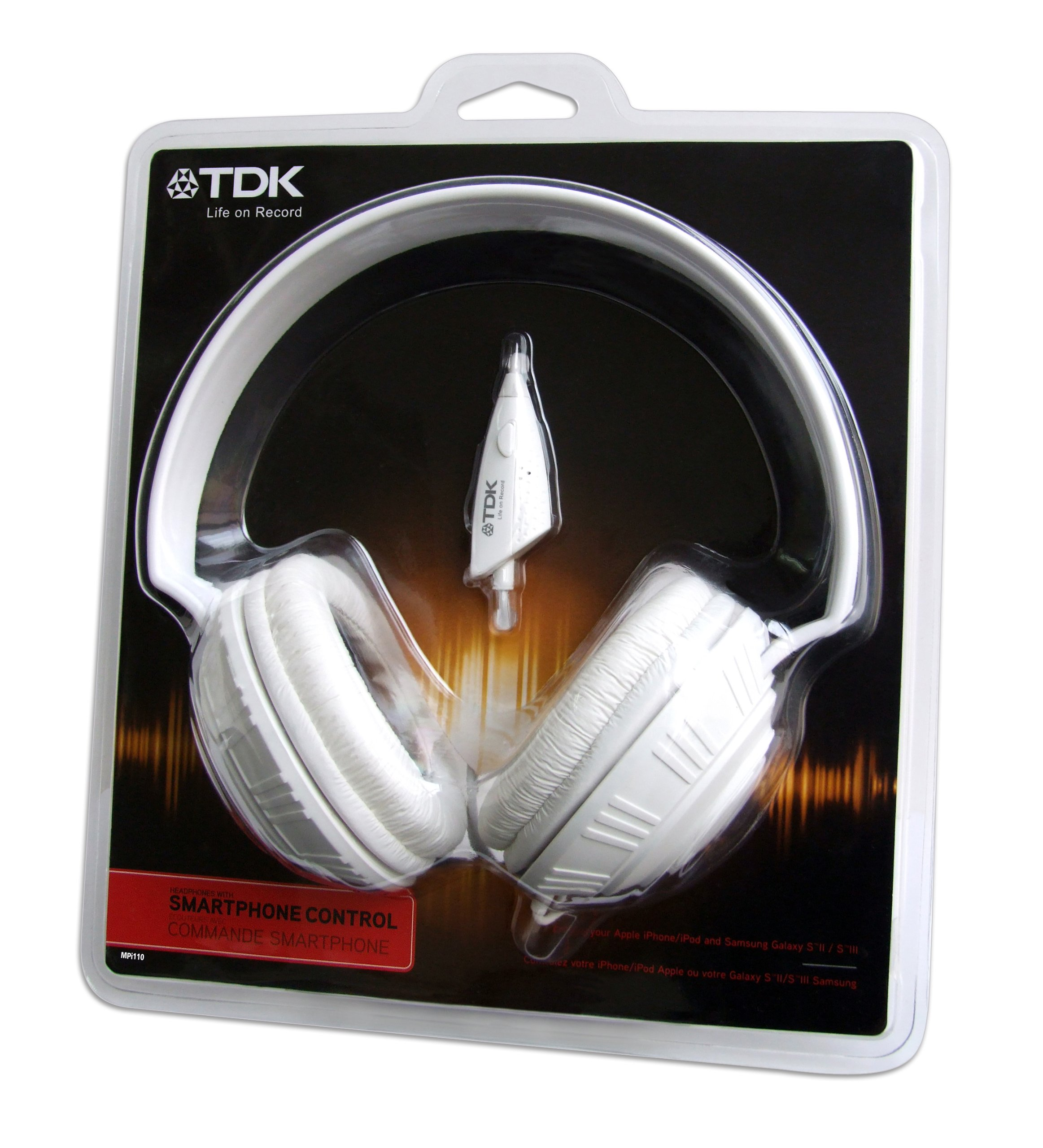 TDK Life On Record MPi110 White Over-Ear Headphones with In-Line Microphone - T62046