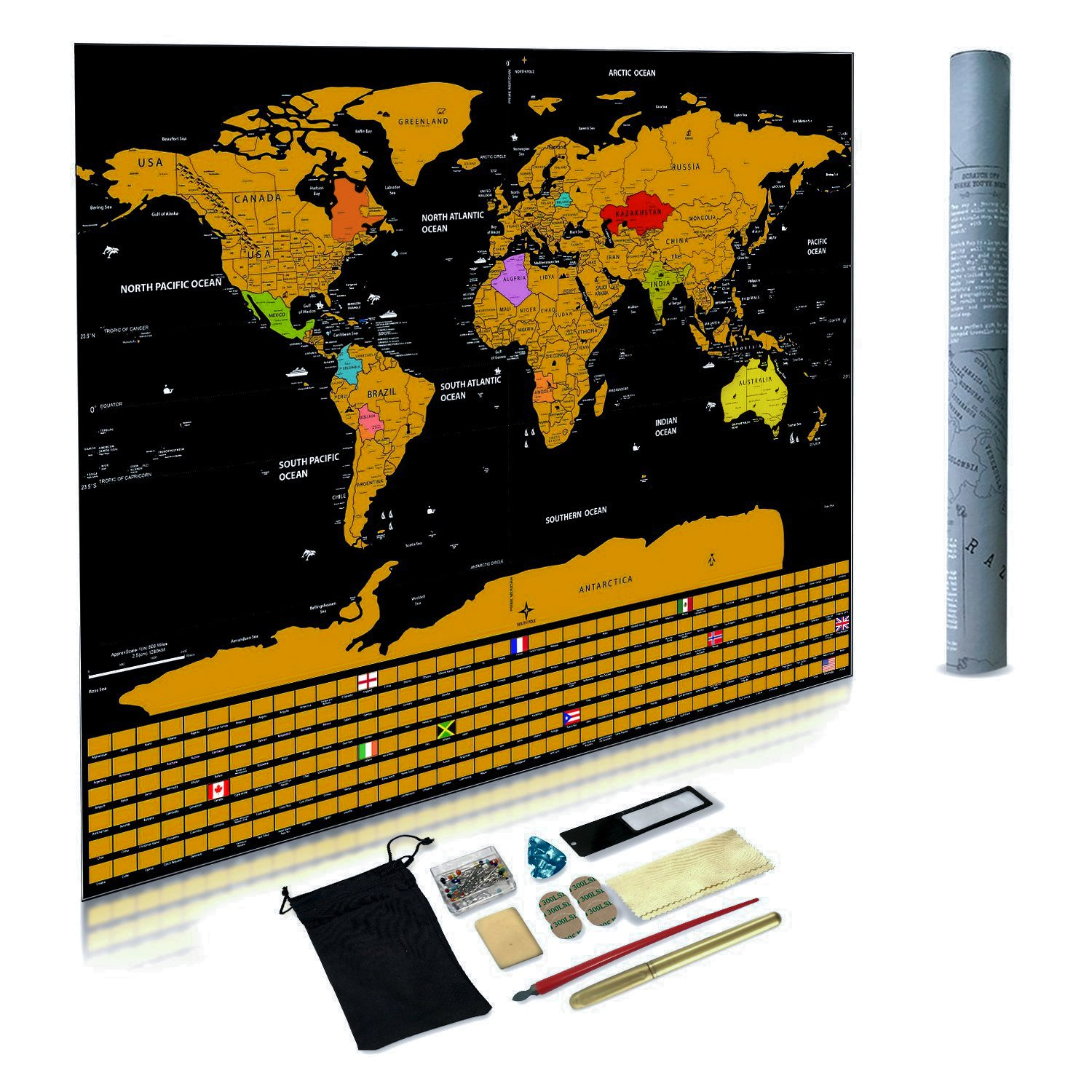 Scratch Off World Map - Scratch Map with All Country Flags and Accessory kit. Deluxe Gold Edition Perfect for Travel Gift or Home and Office Decor ExpeditionTeam