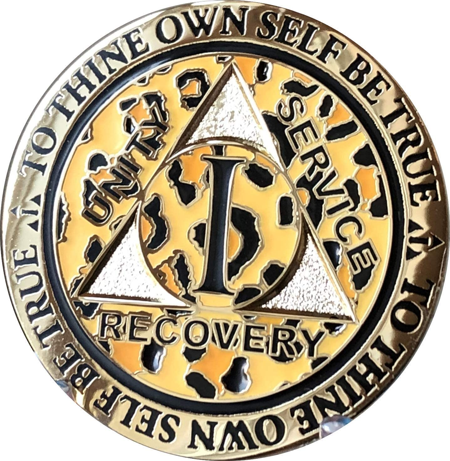 RecoveryChip 1 Year AA Medallion Reflex Leopard Gold Plated Animal Print Chip