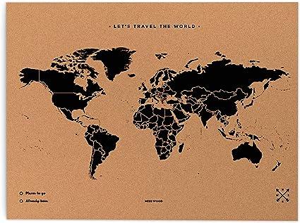 Cartina Mondo In Sughero.Miss Wood Map L Mappa Del Mondo Di Sughero 45 X 60 Cm Naturale Amazon It Casa E Cucina
