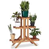 Relaxdays Etagère à fleurs en bois escalier pour plantes échelle 3 étages 5 places HxlxP: 82,5 x 83 x 28,5 cm brun clair