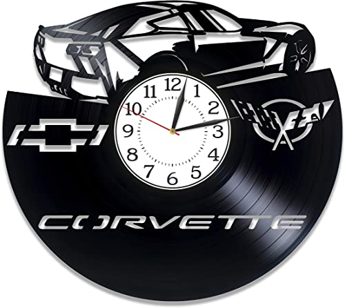 Kovides Chevrolet Corvette Birthday Gift Idea Sport Car Handmade Clock Car Wall Clock 12 Inch Speed Car