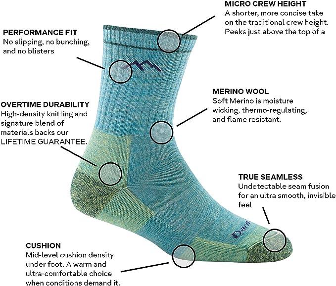 Darn Tough 1908 Womens Cushion Merino Wool Mid-Height Sock