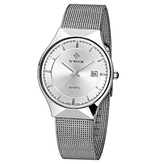 WWOOR Para los hombres Reloj analógico de Acero Inoxidable de la correa ajustable de malla de