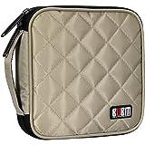 BUBM Portable Padded 32 Capacity CD Disc Storage Case Bag, Heavy Duty CD/DVD Carrying Wallet(Khaki)