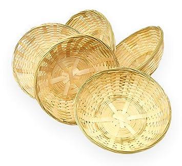 Lashuma 5er Korbset Runde Bambuskorbchen Geflochtener Brotkorb Und